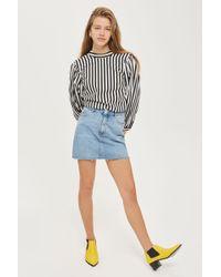 TOPSHOP - Moto Denim Mini Skirt - Lyst