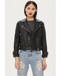 TOPSHOP - Petite Leather Biker Jacket - Lyst