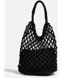 ccb9b400c1b TOPSHOP - Sizzle Black Rope Tote Bag - Lyst