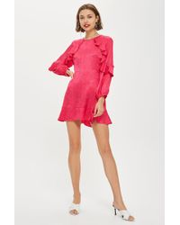 TOPSHOP - Jacquard Ruffle Tea Dress - Lyst