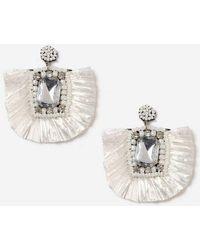 TOPSHOP - embellished Raffia Drop Earrings - Lyst