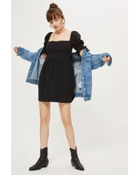 TOPSHOP - Poplin Sleeve Mini Skater Dress - Lyst