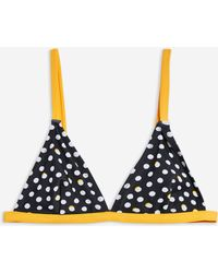 41505c175370a Lyst - TOPSHOP Stripe Frill Triangle Bikini Top in Black