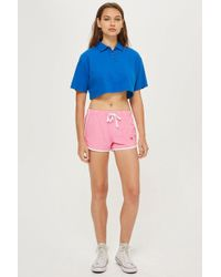 TOPSHOP - Heart Embroidered Runners Shorts - Lyst