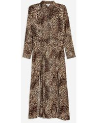 TOPSHOP - Animal Print Midi Shirt Dress - Lyst
