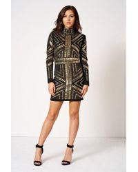 Club L - High Neck Embellished Bodycon Dress By - Lyst