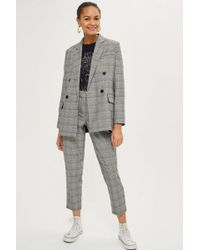 TOPSHOP - Petite Checked Tapered Trousers - Lyst