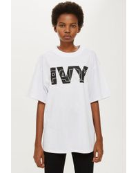 TOPSHOP - Layer Logo Oversized T-shirt By Ivy Park - Lyst