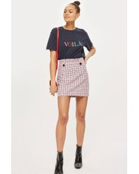 TOPSHOP - Checked Frill Waist Mini Skirt - Lyst