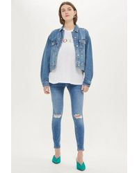 TOPSHOP - maternity Over The Bump Ripped Jamie Jeans - Lyst