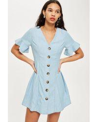 TOPSHOP - Horn Button Flippy Denim Dress - Lyst