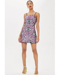 TOPSHOP - All Over Sequin Eye Dress By Moon Dreamers - Lyst