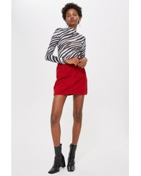 54fc8051fe TOPSHOP Petite Checked Zip A-Line Skirt in Brown - Lyst