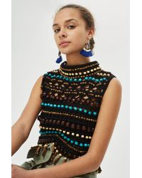 TOPSHOP - Beaded Crochet Top - Lyst