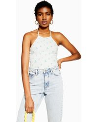 95ab70afd64 TOPSHOP 'girls On Film' Slogan Cropped Top By And Finally in White - Lyst
