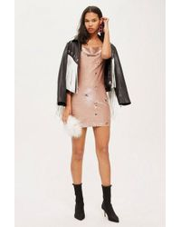 TOPSHOP - Tall Embroidered Bronze Cowl Bodycon Dress - Lyst
