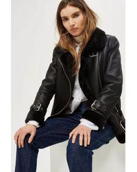TOPSHOP - Faux Shearling Biker Jacket - Lyst