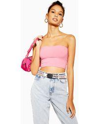 13dc89fdb01 TOPSHOP Stripe Bardot Crop Top in Pink - Lyst