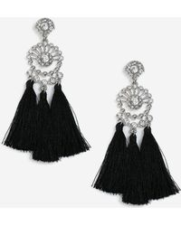TOPSHOP - Rhinestone Tassel Drop Earrings - Lyst