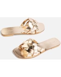 TOPSHOP - Holla Woven Sliders - Lyst