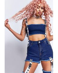 Jaded London - tape And Buckle Denim Crop Top By - Lyst