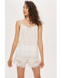 TOPSHOP - Premium Cotton And Lace Pyjama Shorts - Lyst