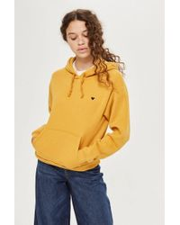 TOPSHOP - Petite Embroidered Heart Hoodie - Lyst