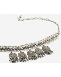 TOPSHOP - Bead And Coin Drop Choker - Lyst