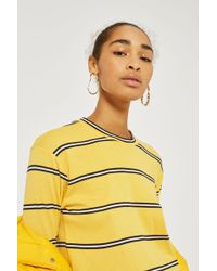 TOPSHOP - Yellow Striped Long Sleeve Crew Neck Top - Lyst