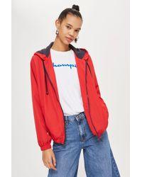 TOPSHOP - Red Windbreaker Jacket - Lyst