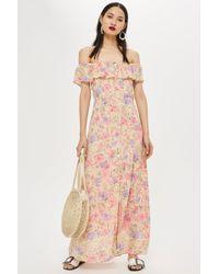 TOPSHOP - Tall Floral Bardot Maxi Dress - Lyst