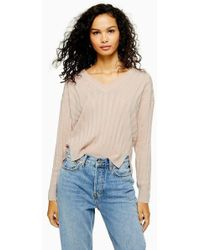 efd73921b4bad8 TOPSHOP Knitted Fluffy Crop Jumper in Natural - Lyst