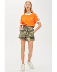TOPSHOP - Camouflage Print Utility Shorts - Lyst