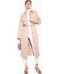 TOPSHOP - Manteau en vinyle rose - Lyst