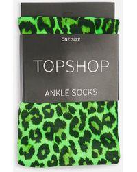 TOPSHOP - Leopard Print Socks - Lyst