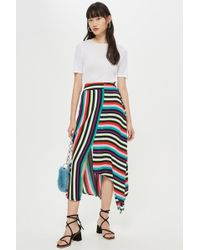 5532f7a17b45 TOPSHOP Check Wrap Paperbag Midi Skirt in Blue - Lyst