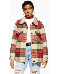 TOPSHOP - Check Shacket With Wool - Lyst