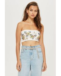 TOPSHOP - Tall Embellished Bandeau Top - Lyst