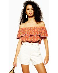 cf30cbb2a5e TOPSHOP - Embroidered Off The Shoulder Crop Top - Lyst