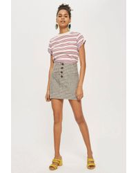 TOPSHOP - Textured Checked Button Skirt - Lyst