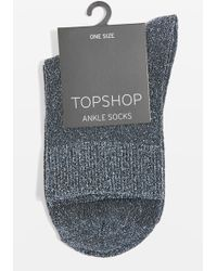 TOPSHOP - Deep Welt Glitter Ankle Socks - Lyst