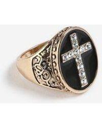 TOPSHOP - crystal Cross Signet Ring - Lyst