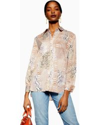 4805a17e71f4 TOPSHOP Mini Star Print Shirt in Blue - Lyst
