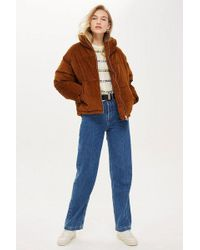 TOPSHOP - Chunky Corduroy Puffer Jacket - Lyst