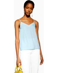 b6c207cc225640 Lyst - TOPSHOP Tall Plunge V-neck Cami in Gray