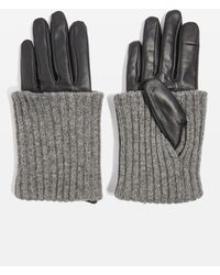TOPSHOP - Knitted Leather Gloves - Lyst