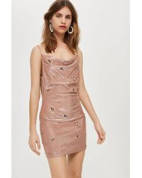 TOPSHOP - Petite Embroidered Bronze Cowl Bodycon Dress - Lyst