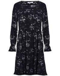 68af8b2c7dfcb TOPSHOP Houndstooth Tie Neck Midi Dress in Black - Lyst