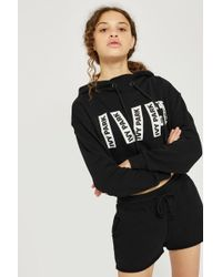7d495a9362e4 Lyst - Topshop Logo Printed Cropped Hoodie By Ivy Park in Black