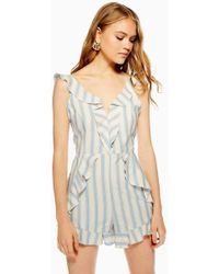 TOPSHOP - Striped Ruffle Playsuit - Lyst
